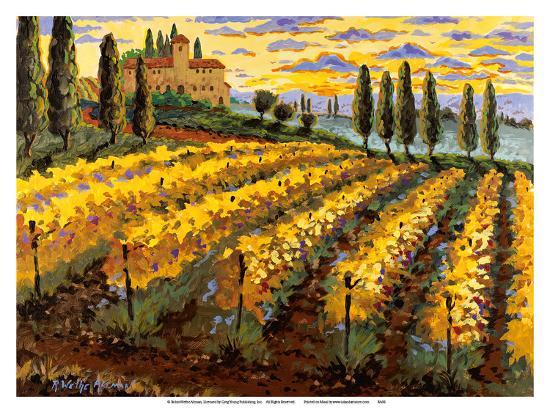 Sunset on the Vineyard - Italy - Italian Villa, Vineyards, Cypress Trees-Robin Wethe Altman-Art Print