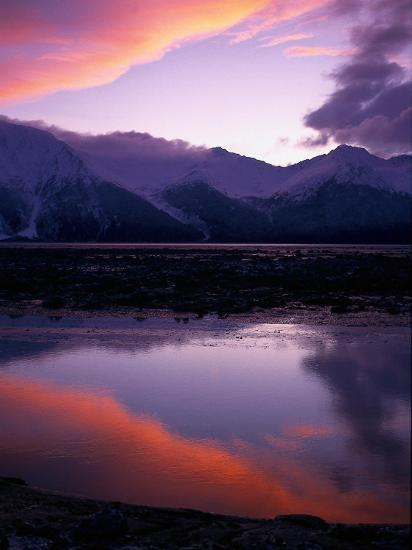 Sunset on Turnagain Arm, South Central Alaska-Hal Gage-Photographic Print