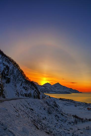 Sunset over a Fjord and the Norwegian Sea-Babak Tafreshi-Photographic Print