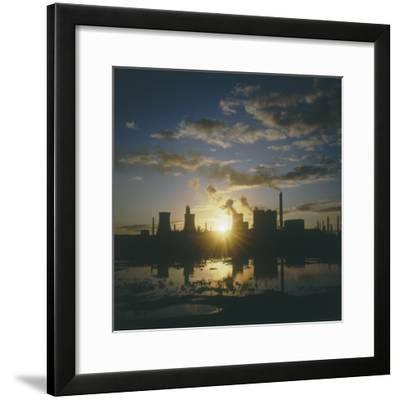 Sunset over an Oil Refinery Near Swansea, South Wales--Framed Photographic Print