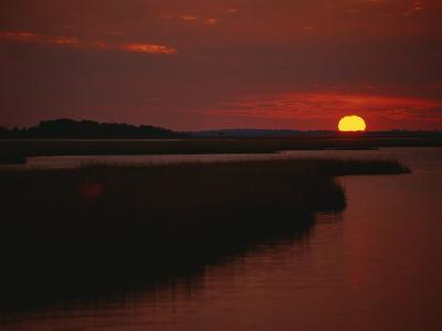 Sunset over Assateague Channel with Cordgrass-Raymond Gehman-Photographic Print