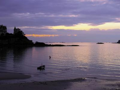 Sunset Over Bay, Dinard, Cote d'Emeraude (Emerald Coast), Cotes d'Armor, Brittany, France-David Hughes-Photographic Print