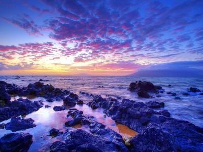 Sunset over beach at Wailea on Maui-Ron Dahlquist-Photographic Print