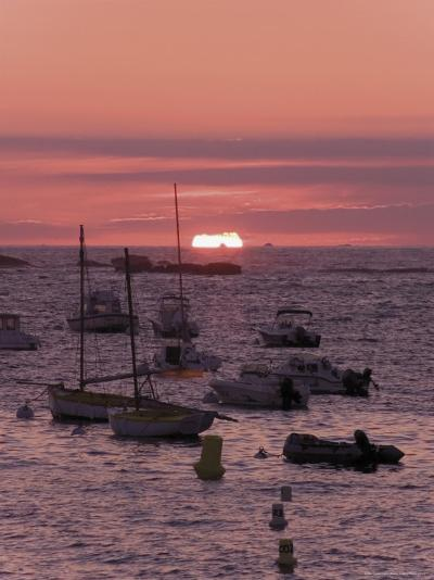 Sunset Over Boats Moored at Sea, Tregastel, Cote De Granit Rose, Cotes d'Armor, Brittany, France-David Hughes-Photographic Print