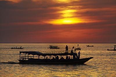 Sunset over Boats on Tonle Sap Lake at Chong Kneas Floating Village, Near Siem Reap, Cambodia-David Wall-Photographic Print
