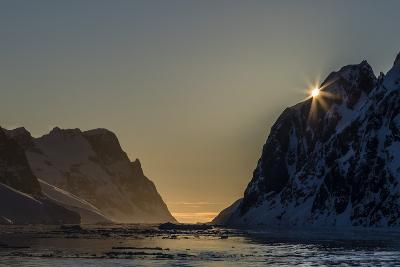 Sunset over Booth Island in the Waters of the Lemaire Channel, Antarctica, Polar Regions-Michael Nolan-Photographic Print