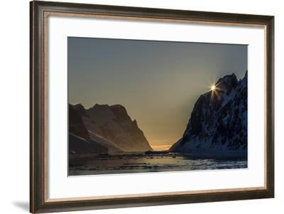 Sunset over Booth Island in the Waters of the Lemaire Channel, Antarctica, Polar Regions-Michael Nolan-Framed Photographic Print