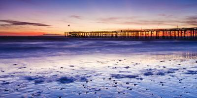 Sunset over Channel Islands and Ventura Pier from San Buenaventura State Beach, Ventura, California-Russ Bishop-Photographic Print