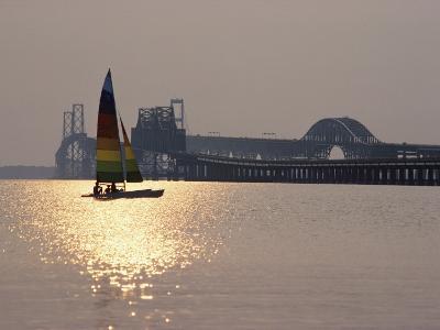 Sunset over Chesapeake Bay Bridge-Stephen St^ John-Photographic Print