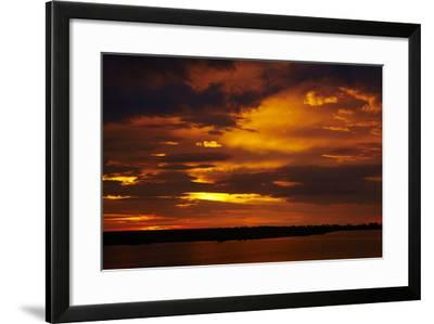 Sunset over Chobe River, Chobe Safari Lodge, Kasane, Botswana, Africa-David Wall-Framed Photographic Print