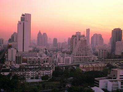 Sunset over City Buildings, Bangkok, Thailand-Stu Smucker-Photographic Print