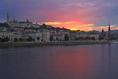Sunset over Danube River; Budapest Hungary-Design Pics Inc-Photographic Print