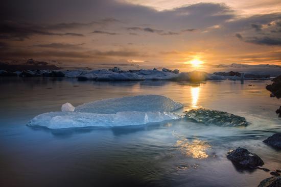 Sunset over Glacier Bay in Iceland-Keith Ladzinski-Photographic Print