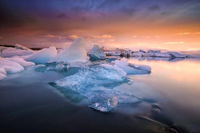 Sunset over Glacier Bay in Iceland-Keith Ladzinski-Photographic Print