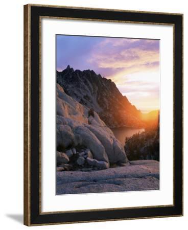Sunset Over Granite Rock and Alpine Lakes, Goat Rocks, Cascades, Washington State, USA-Aaron McCoy-Framed Photographic Print