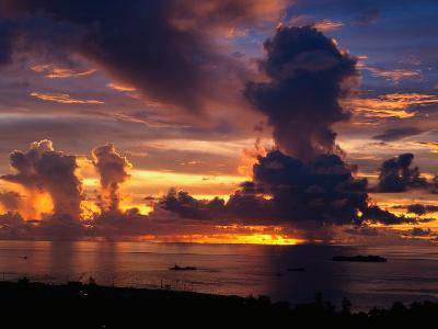 Sunset Over Harbor, Saipan-Francie Manning-Photographic Print