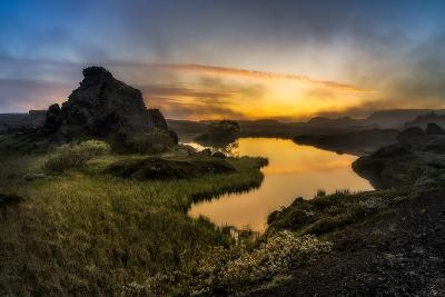 Sunset over Lake Myvatn, Northern Iceland-Ragnar Th Sigurdsson-Photographic Print