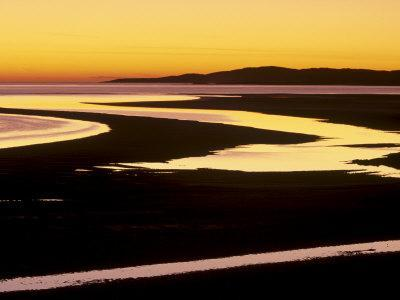 Sunset over Luskentyre Bay, at Low Tide, West Coast of South Harris, Outer Hebrides, Scotland, UK-Patrick Dieudonne-Photographic Print