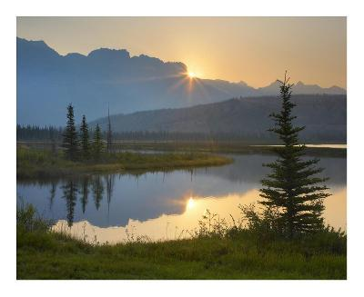 Sunset over Miette Range and Talbot Lake, Jasper National Park, Alberta, Canada-Tim Fitzharris-Art Print