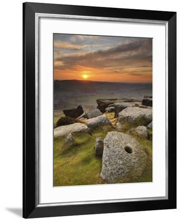 Sunset over Millstones, Froggatt and Curbar Edge, Peak District National Park, Derbyshire, England,-Chris Hepburn-Framed Photographic Print
