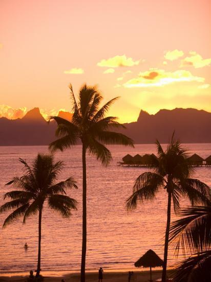 Sunset over Moorea, near Papeete, Tahiti Nui, Society Islands, French Polynesia, South Pacific-Stuart Westmoreland-Photographic Print