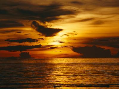 Sunset over Pacific Ocean, Yap Islands, Caroline Islands, Micronesia-Joe Stancampiano-Photographic Print