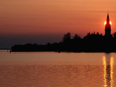 Sunset Over Poveglia Island and the Lagoon, Venice, Veneto, Italy-Roberto Gerometta-Photographic Print