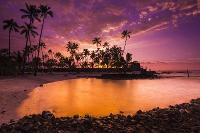 Sunset over Pu'Uhonua O Honaunau National Historic Park, Kona Coast, Hawaii-Russ Bishop-Photographic Print