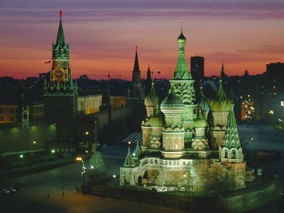 Sunset Over Red Square, the Kremlin, Moscow, Russia-D H Webster-Photographic Print