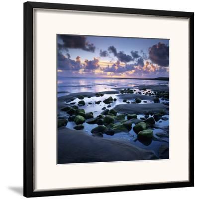 Sunset over Rock Pool, Strandhill, County Sligo, Connacht, Republic of Ireland, Europe-Stuart Black-Framed Photographic Print