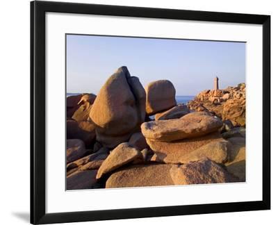Sunset Over Rocks and Lighthouse at Pars-Kamor, Ploumanach, Breton Corniche, Cotes d'Armor-David Hughes-Framed Photographic Print