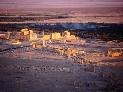 Sunset Over Ruins of Ancient City of 17th Century Arab Castle, Qala'At Ibn Maan, Syria-Tony Wheeler-Photographic Print