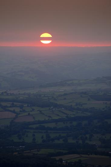Sunset over rural Wales valley in Powys-Charles Bowman-Photographic Print