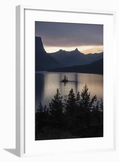 Sunset over Saint Mary's Lake in Montana's Glacier National Park-Keith Ladzinski-Framed Photographic Print