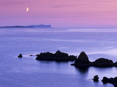 Sunset over Sand Wick and Rising Moon over Foula in Distance, Eshaness, Shetland, Scotland, UK-Patrick Dieudonne-Photographic Print