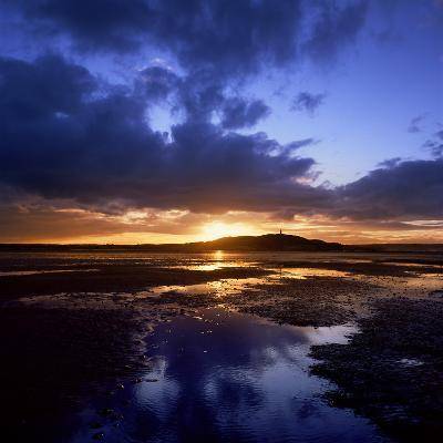 Sunset over Scrabo Tower on Strangford Lough-Chris Hill-Photographic Print