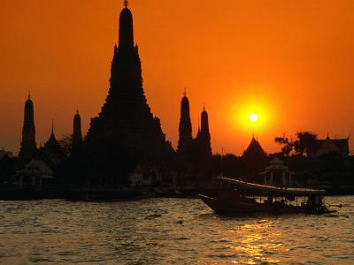 Sunset Over Temple of Dawn (Wat Arun) on River Mae Nam Chao Phraya, Bangkok, Thailand-John Elk III-Photographic Print