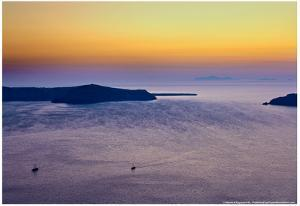 Sunset Over the Aegean Sea in Santorini Greece