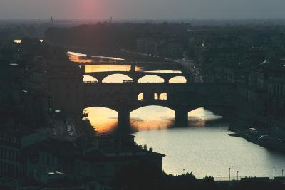 Sunset over the Arno, Florence, Italy-Peter Thompson-Photographic Print