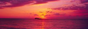 Sunset over The, Atlantic Ocean, Cat Island, Bahamas