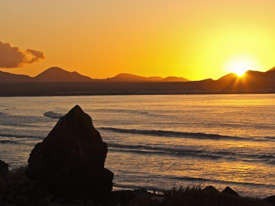 Sunset Over the Bay at Famara, Lanzarote's Finest Surf Beach, Canary Islands-Robert Francis-Photographic Print