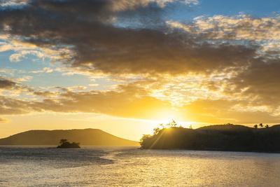 Sunset over the Beach, Nacula Island, Yasawa, Fiji, South Pacific-Michael Runkel-Premium Photographic Print