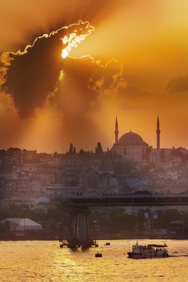 Sunset over the Bosphorus Strait.-Jon Hicks-Photographic Print