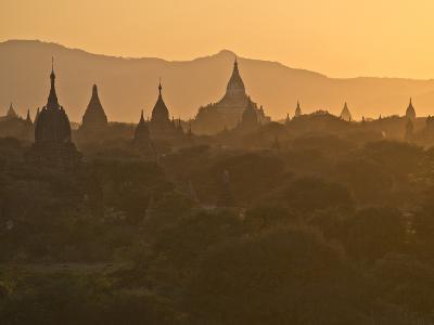 Sunset over the Buddhist Temples of Bagan (Pagan), Myanmar (Burma)-Julio Etchart-Photographic Print