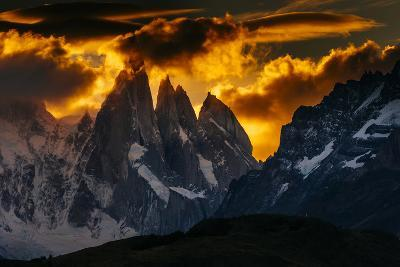 Sunset Over The Cerro Torre Spires In Los Glacieres National Park, Argentina-Jay Goodrich-Photographic Print