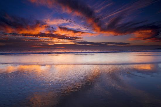 Sunset over the Channel Islands from Ventura State Beach, Ventura, California, USA-Russ Bishop-Photographic Print