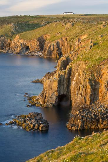 Sunset over the Cliffs Near Lands End, Cornwall, England-Brian Jannsen-Photographic Print