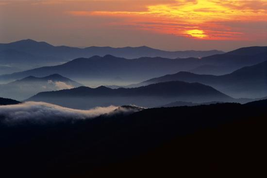 Sunset over the Great Smoky Mountains National Park, Tennessee, USA-Jerry Ginsberg-Photographic Print