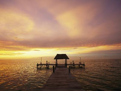 Sunset over the Gulf of Mexico Near Isla Holbox-Michael Melford-Photographic Print