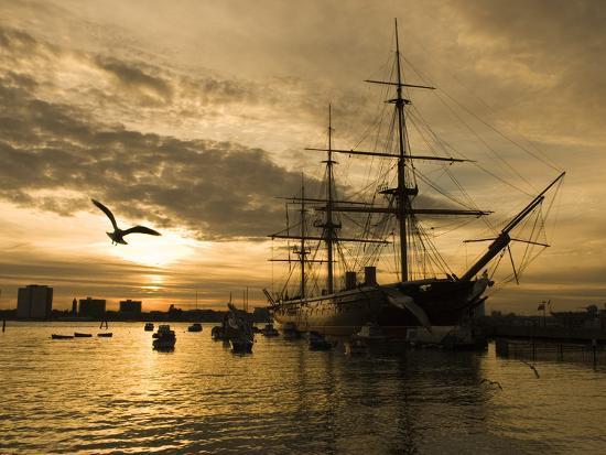 Sunset over the Hard and Hms Warrior, Portsmouth, Hampshire, England, United Kingdom, Europe-Stuart Black-Photographic Print